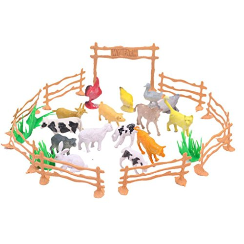 Livoty 15pcs Educational Simulated Farm Animals Model Toy for Kids Children Educational Toy (Multicolor)