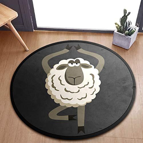 ALINLO Alfombra redonda para niños, divertida, ovejas, yoga, juego de bebé, alfombra para el dormitorio, sala de juegos, decoración del hogar, 92 cm