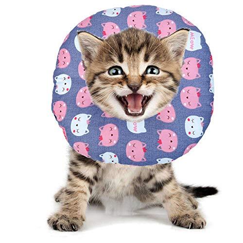 BVAGSS Haustier Halsband Einstellbarer schützender Rutschfester Baumwollring Protective E-Collar für Katze und Hund XH004 (S, Grey Cat)