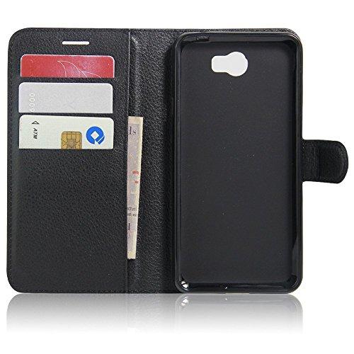SMTR Huawei Y5II / Huawei Y5 2 Wallet Tasche Hülle - Ledertasche im Bookstyle in Schwarz - [Ultra Slim][Card Slot][Handyhülle] Flip Wallet Case Etui für Huawei Y5II / Huawei Y5 2 - 2