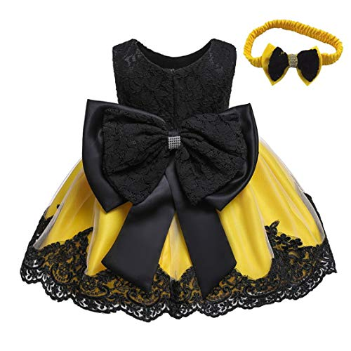 Girls' Purple Lace Princess Wedding Baptism Dress Formal Party Wear for Toddler Baby Girl with Headwear(Yellow&Black 18M)