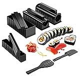 AMAZOM Kit di Stampi per Sushi, Sushi Maker Deluxe Edition 10 Pezzi di Stampi in Plastica per Sushi con 8 Forme di Stampi per Rotoli di Riso, 1 Coltello da Sushi per Cucina Domestica Fai da Te