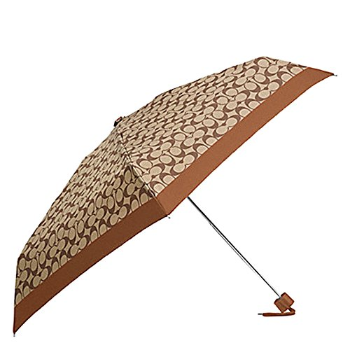 COACH F63365 SIGNATURE MINI UMBRELLA KHAKI/SADDLE