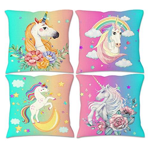 YCNJJB Funda de almohada de lino vintage con estampado de unicornio, protector de cojines para sofá, decoración de silla, color blanco 45 x 45 cm