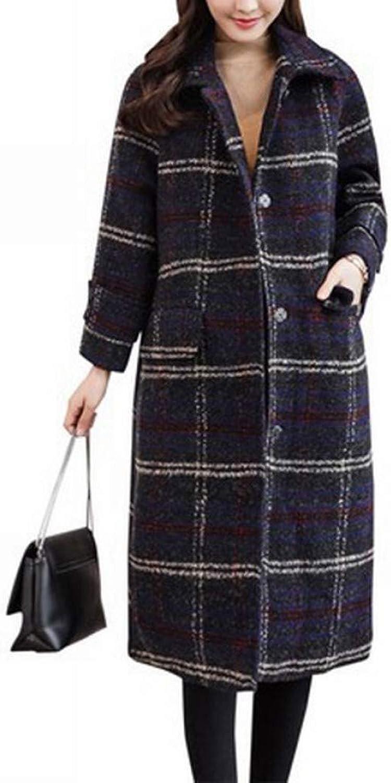 Coat Jacket, Woolen Coat, Woolen Coat, Female Thickened Knee Long Plaid Plaid Winter Loose Woolen Coat XQY