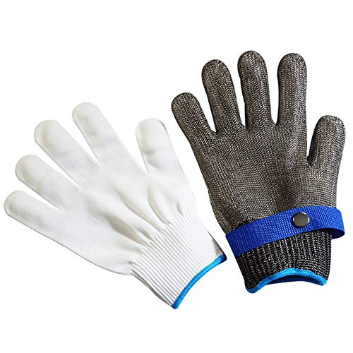 MOC Schnittschutzhandschuhe Handschuhe Schnittfest aus Edelstahl Metall Netzgewebe Passend für Beide Rechte und Linke Hand Schutzgrad 5 Schutzhandschuh