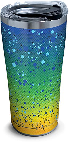 Tervis Mahi Pattern Stainless Steel Insulated Tumbler with Clear and Black Hammer Lid, 20oz, Silver