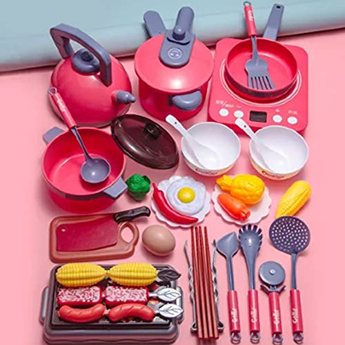 Pretend Play Kitchen Toy with Cookware Steam Pressure Pot and...