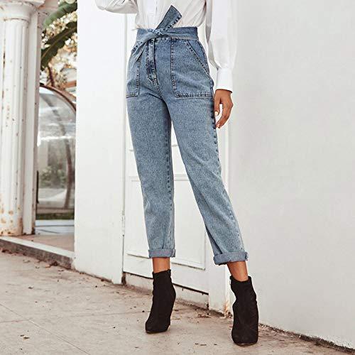 pedkit Moda feminina reta jeans amarrado nó de cintura alta lavada denim calças vintage casual calças streetwear azul