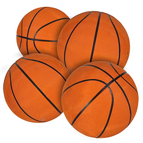 Bedwina Mini Basketballs - (7 Inch, Size 3) Pack of 4 - Mini Hoop Basketball Set for Indoor, Outdoor, Pool Parties, Small Hoops Basketball Game Party Favors for Kids