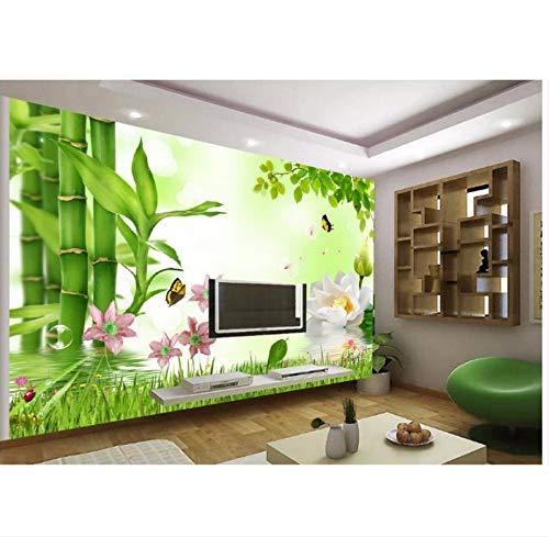 Xzfddn Home Decoration 3D Lotus Bambus TV Hintergrund Wanddekoration Gemälde Klassische Tapete für Wände