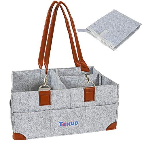 Tokud Baby Diaper Caddy Organizer | Diaper Tote Bag | Nursery Car Organizer | Newborn Registry Must Haves | Baby Shower Gift Basket