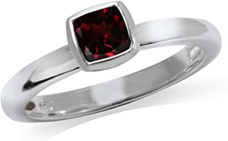 Cushion Cut Garnet 925 Sterling Silver Stack Stackable Solitaire Ring