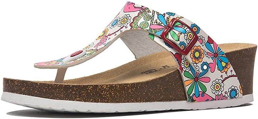 SKREOJF Casual Soft Cork Wedge Slippers Women Summer Beach Slide Sandals Flip Flops High Heels Comfort Ladies House Outside Shoes (Color : Pink, Size : 8.5)