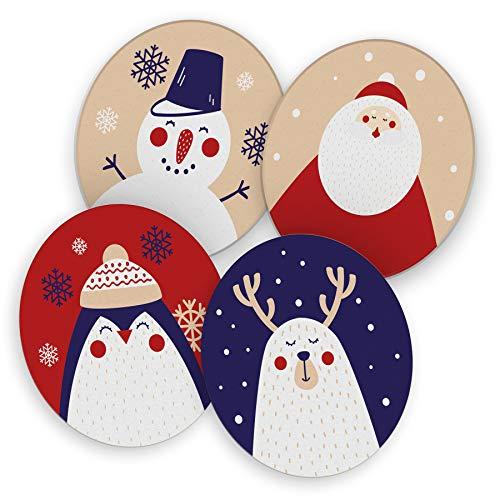 itenga 40x Bierdeckel Weihnachten I Untersetzer aus Pappe I Weihnachtsfiguren I Bunt I rund, Ø 10,7 cm I Winter Advent