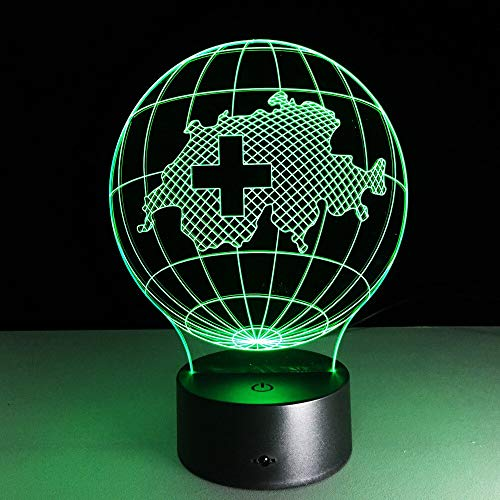 LIkaxyd 3D Optical Illusion Lamp Switzerland Map Night Light for Boys,7 Colors Dimmable USB Powered Touch Control,Gifts for Kids