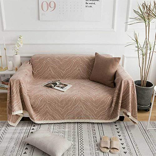 Chenilla engrosada cubierta completa sofá toalla hoja antideslizante elástico multifuncional cuatro estaciones universal sofá cojín cubierta de sofá toalla elastica/Brown / 180 * 240CM