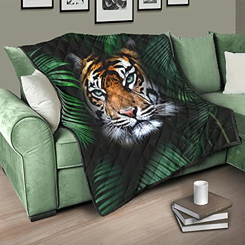 AXGM Colcha de bosque tropical tropical con plantas y tigre, con impresión 3D, para salón, color blanco, 230 x 280 cm