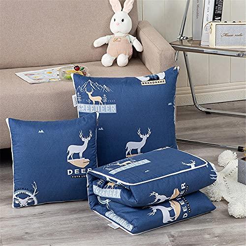Cojín Manta 2 en 1 Ciervo Almohada Edredón Multifuncional Almohada Manta Respaldo Cojín Suave y Decorativa Siesta Cojines para sofá Cama Silla de Oficina