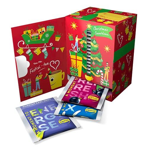 Lipton Tea Christmas Countdown Advent Calendar 2021, Calendario dell'avvento senza cioccolato con Tè nero, tè verde,...