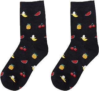 Nikgic - Calcetines Adultos - Algodón - Dibujos Animados de Frutas Serie de Alimentos Transpirable Calcetines 1 Pares (Negro