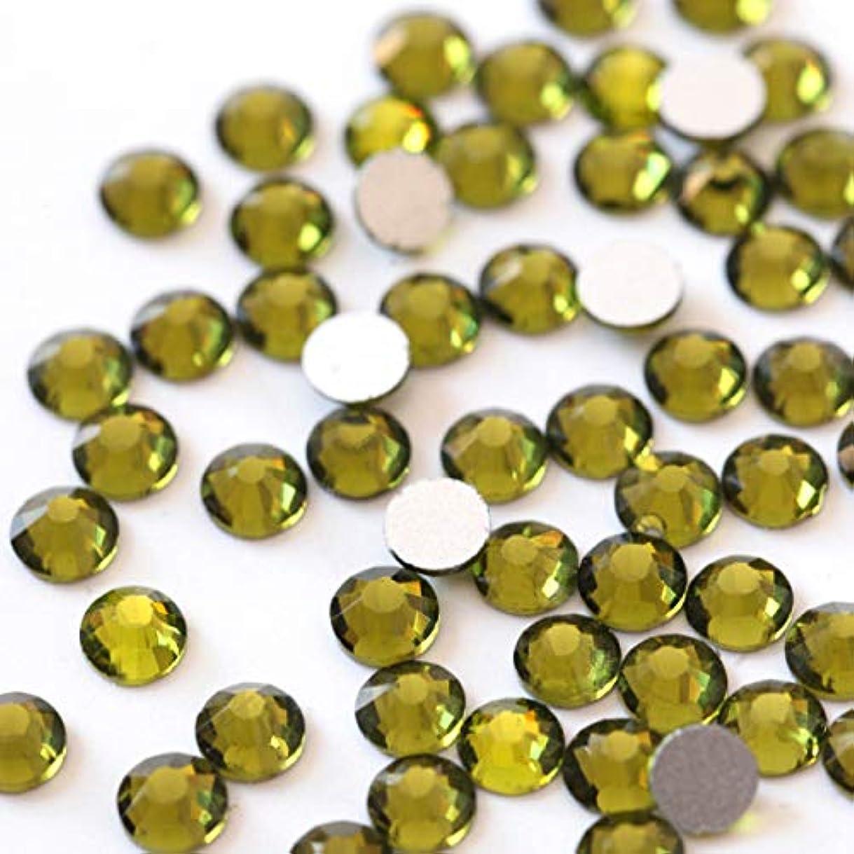 抵抗絶望パノラマ【ラインストーン77】 超高級 ガラス製ラインストーン SS4~SS40 オリーブ スワロフスキー同等 (3.0mm (SS12) 約200粒)