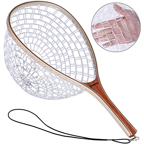 ODDSPRO Fishing Net, Fly Fishing Net with Magnetic Release, Fish Landing Net with Wooden Frame and Soft Rubber Mesh for Trout Fishing Catch and Release
