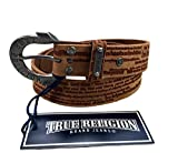 Womens True Religion Jeans Leather Belt Brown Script Hardware Logo Horseshoe Buckle (24)