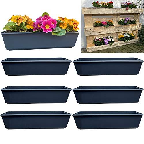 Set di 6 fioriere da balcone, adatto per pallet europei per fiori, erbe e frutta, 6 pezzi da 37 cm