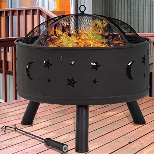 Dkeli Outdoor Fire Pit Metal Round 24' Firepit Table Patio Stove Wood Burning BBQ Grill Fire Pit Bowl with Spark Screen Cover, Safety Poker for Backyard Garden Camping Picnic Bonfire