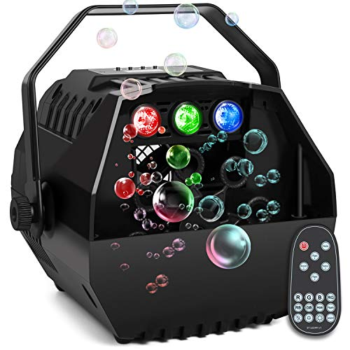 Baisun Bubble Machine With Led Lights Automatic Bubbles Blower For Kids Brithday Party,Led Screen Operation Or Wireless Remoter Control,Adjustable Speed Levels,Powered by Plug-in or Battery