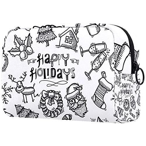 KAMEARI Bolsa de cosméticos dibujada a mano Navidad-01 grande bolsa de cosméticos organizador multifuncional bolsas de viaje