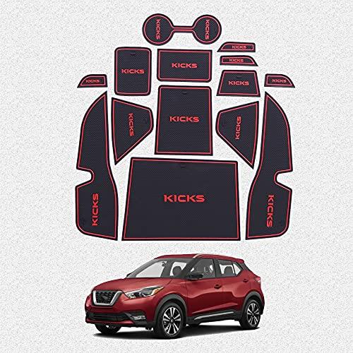 Great-Luck tapete de almacenamiento para puerta interior de coche, alfombrilla de ranura para puerta, posavasos a prueba de polvo, antideslizante, 14 piezas/juego (rojo) para Nissan Kicks 2016-2019