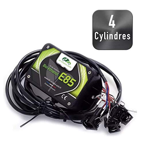 Kit de Conversion Ethanol E85 pour véhicules 4 cylindres + Interface de Diagnostic ELM327 USB - Compatible avec Peugeot, Citroën, Audi, VW, Renault, Seat, Toyota. (Connecteurs Nippon Denso)