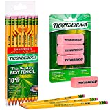 Pencils and Erasers for School Bundle - Rubber Pencil Eraser, High Polymer Erasers, Pink (Medium, 3 Pack) and Sharpened Pencils for School, Graphite number 2, Yellow (18 Pack)