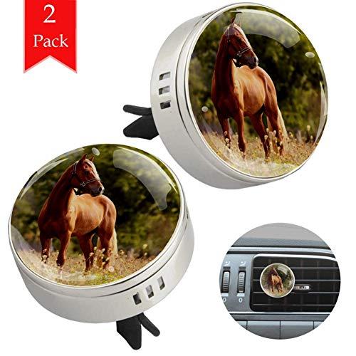 LORVIES Welsh Pony Hardlopen Bruin Paard Galloping Auto Luchtverfrisser Aromatherapie Etherische Olie Diffuser 2 PCS