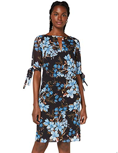 Marca Amazon - TRUTH & FABLE Vestido Evasé de Gasa Mujer, Multicolor (Teal Floral), 38, Label: S
