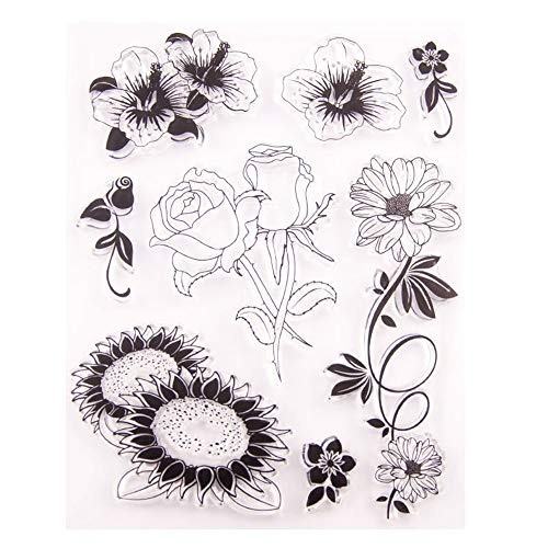 Sunflowers Hibiscus Roses Daisy Floral Rubber Clear Stamp/Seal Scrapbook/Photo Album Decorative Card Making Clear Stamps