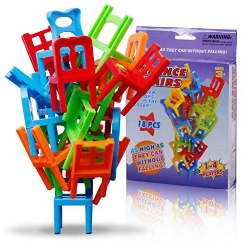 Uoeo 18 Stück Stapelstühle Turm Balancierspiel Kinder Balance Stapelstühle Spielzeug Party Favor Stapelspielzeug Familie Puzzle Brettspiele