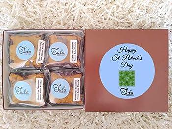 Tula Bakeshoppe Gluten Free St Patrick Irish Clover Chocolate Peanut Butter Blondie Gourmet Cookie Bar Favor Gifts for Men / Women / Couples / Doctor  4 Bars