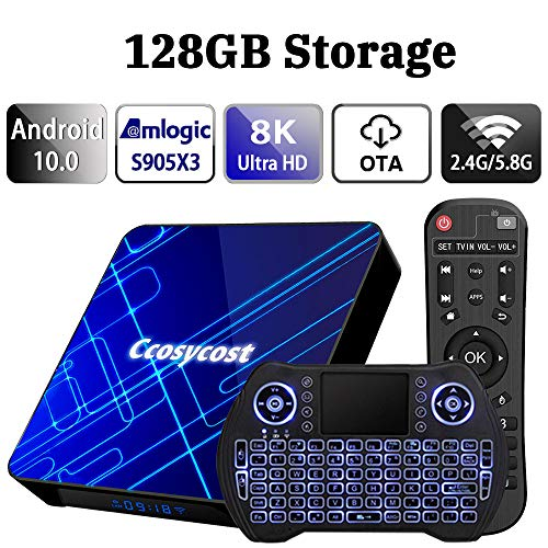 Android TV Box 10.0 4GB 128GB Smart TV Box Amlogic S905X3 Set Top Box with Backlit Wireless Keyboard USB 3.0 Ultra HD 4K 8K HDR Dual Band WiFi 2.4 5.8GHz BT 4.1 Streaming Media Player