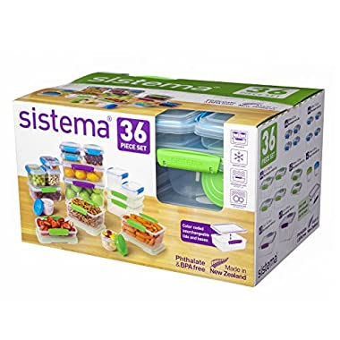 Sistema KLIP IT Collection Food Storage Containers, Assorted Shapes and Colors, 36-Piece Set