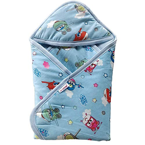 COZYCARE Soft Baby Hooded Swaddler Wrap for New Born Babies - Blue (30x30 Inches)
