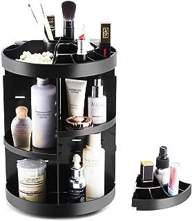 Makeup Organizer Rotating Cosmetics Counter Storage Shelf Adjustable Larger Capacity Bathroom Vanity Countertop Make up Accessories Nail Polish Lipsticks Holder (Black)