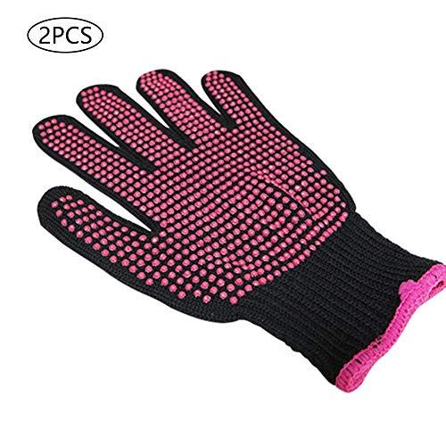 2 guantes de silicona antideslizantes resistentes al calor para rizar, peluquería, guantes protectores de doble cara