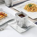 MALACASA, Serie Flora, 30 tlg. Marmor Porzellan Geschirrset Kombiservice Tafelservice mit je 6 Kaffeetassen, 6 Untertassen, 6 Dessertteller, 6 Suppenteller und 6 Flachteller - 8