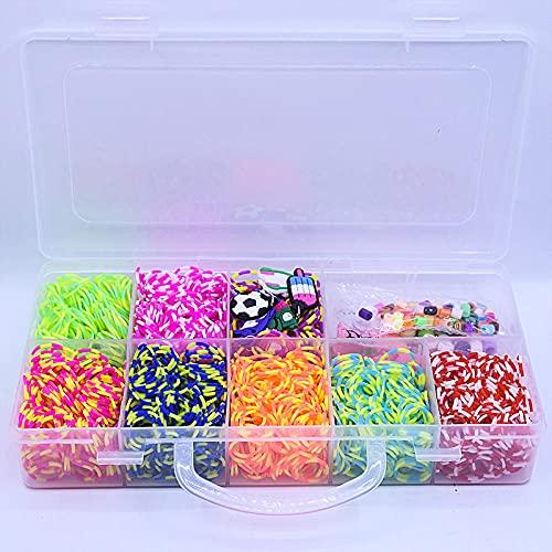 SMYUI Kit de bandas giratorias para telar, kit de bandas para telar de colores, para niños con clips, dijes, cuentas, kit de fabricación de pulseras de la amistad (estilo 2)