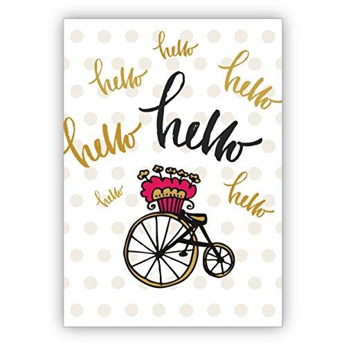 Romantische wenskaart met stippen om zich in herinnering te brengen: hello • individuele wenskaart met envelop, hoogwaardige kwaliteit 10 Grußkarten