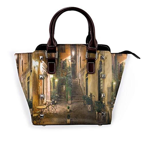 BROWCIN Italienischer alter Hof Rom Italien Cafe Stühle Stadt historische Häuser in der Straße Abnehmbare mode trend damen handtasche umhängetasche umhängetasche