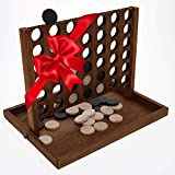 """Large All Wooden 4 In A Row Game - With Thick Real Wood Discs (Not Plastic). Size 11.5""""W x 8.75""""D x 8.8""""H. Tabletop Classic Four In A Row Game, Wooden Toys, Adults Kids Family Play Set Fun Board Games"""